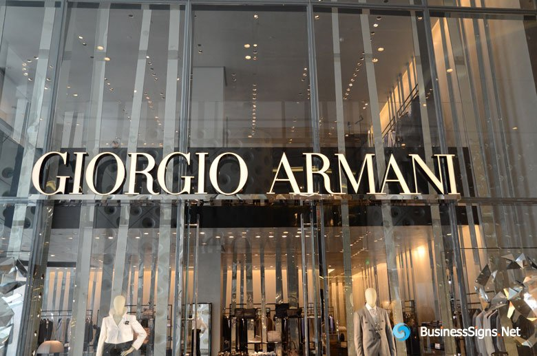 3D LED Front-lit Signs With Mirror Polished Stainless Steel Border For Giorgio Armani