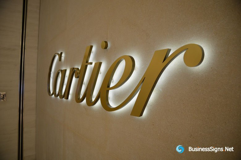 Brushed Gold Plated Led Backlit Signs For Cartier│gallery