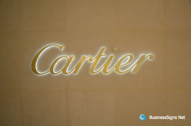Brushed Gold Plated LED Backlit Signs For Cartier