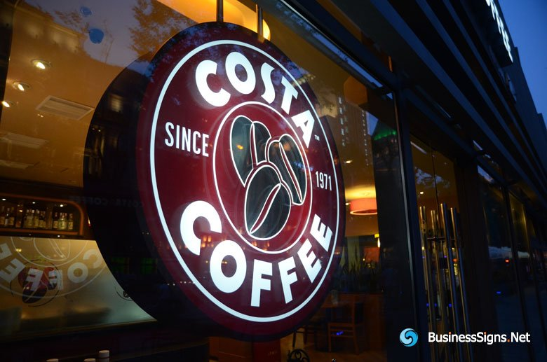 led double sided lit acrylic circle lightbox for costa coffee gallery businesssigns net show. Black Bedroom Furniture Sets. Home Design Ideas