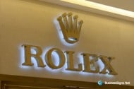 3D LED Back-lit Signs With Brushed Brass Letter Shell For Rolex