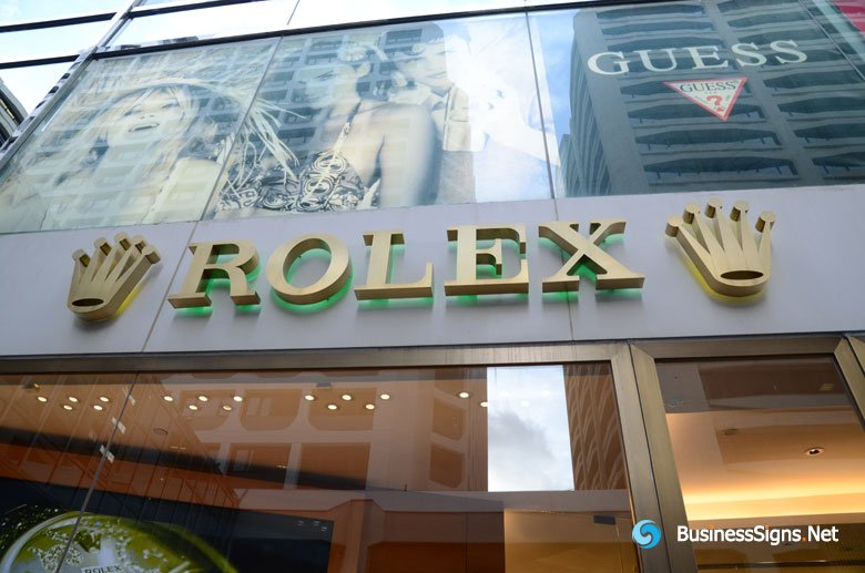 3D LED Back-lit Signs With Brushed Gold Plated Letter Shell For Rolex