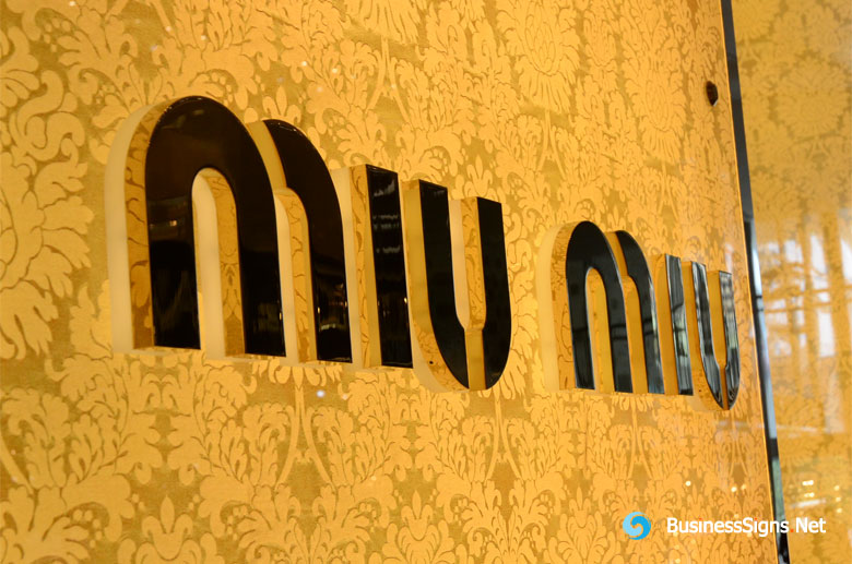 3D LED Backlit Signs With Mirror Polished Gold Plated Letter Shell & 20mm Thickness Acrylic Back Panel For Miu Miu