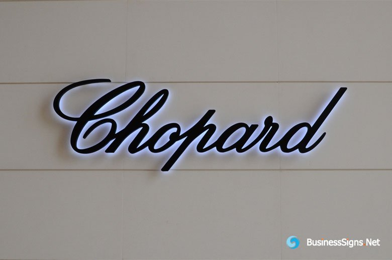 3D LED Backlit Signs With Painted Stainless Steel Letter Shell For Chopard