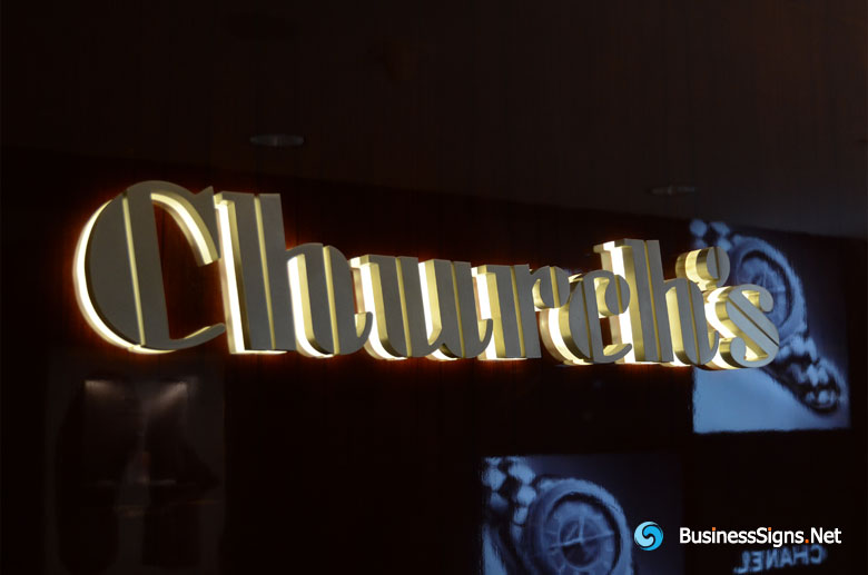 3D LED Backlit Signs With Brushed Stainless Steel Letter Shell & 20mm Thickness Acrylic Back Panel For Church's