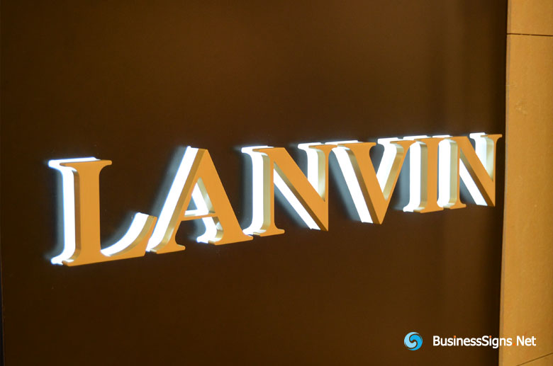 3D LED Backlit Signs With Mirror Polished Gold Plated Letter Shell & 20mm Thickness Acrylic Back Panel For Lanvin