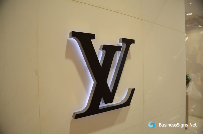 3D LED Backlit Signs With Mirror Polished Stainless Steel Border And Black Acrylic Front-panel For Louis Vuitton