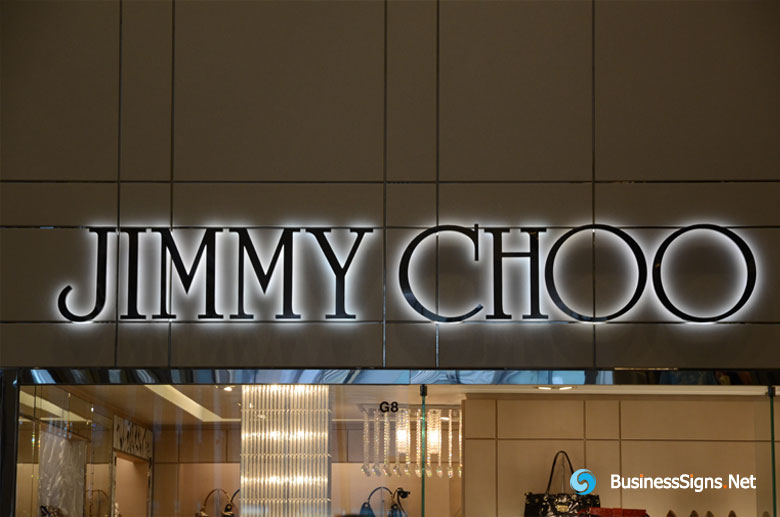 3D LED Backlit Signs With Mirror Polished Stainless Steel Letter Shell For Jimmy Choo