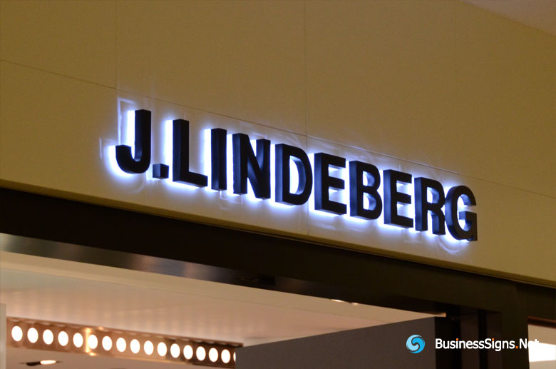 3D LED Backlit Signs With Painted Stainless Steel Letter Shell & 20mm Thickness Acrylic Back Panel For J.Lindeberg