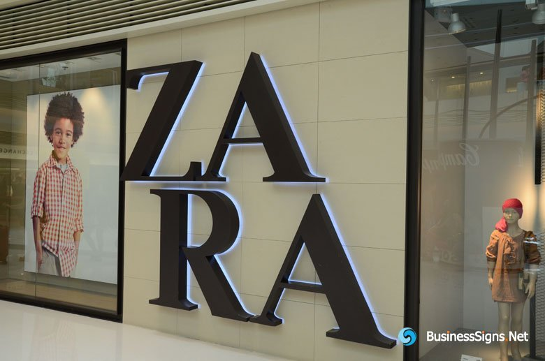 3D LED Backlit Signs With Painted Stainless Steel Letter Shell For ZARA