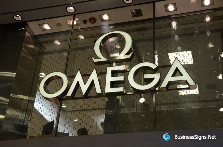 3D LED Front-lit Signs With Brushed Brass Letter Shell For Omega