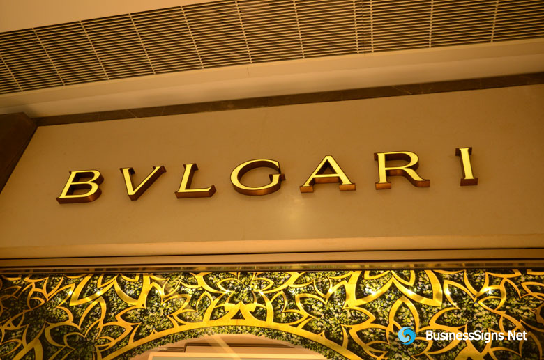 3D LED Front-lit Signs With Brushed Gold Plated Letter Shell For Bulgari