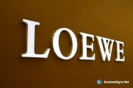 3D LED Front-lit Signs With Brushed Stainless Steel Letter Shell And 10mm Thickness Acrylic Front-panel For Loewe