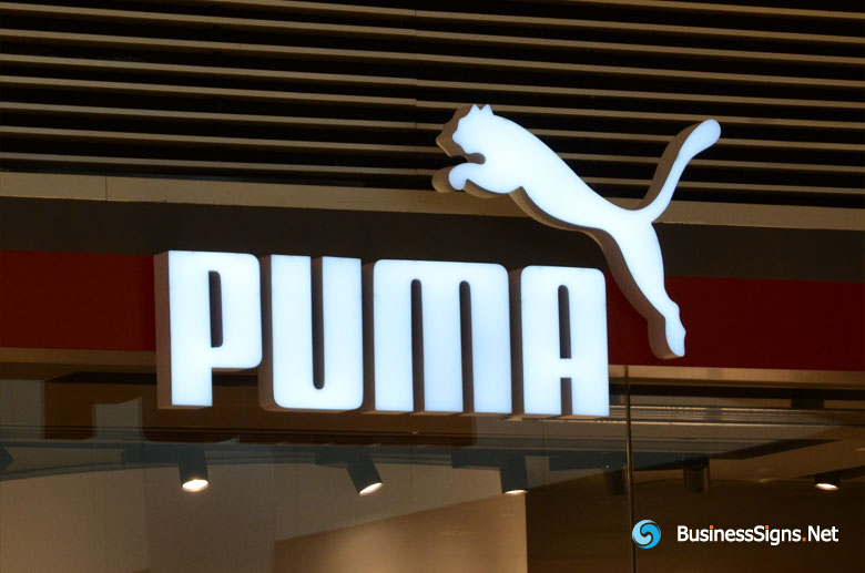 3D LED Front-lit Signs With Brushed Stainless Steel Letter Shell For Puma