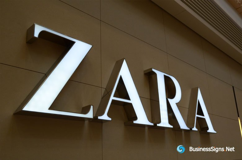 3D LED Front-lit Signs With Mirror Polished Stainless Steel Letter Shell For ZARA