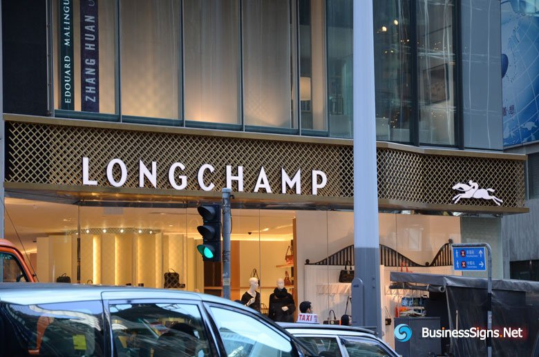 3D LED Front-lit Signs With Painted Stainless Steel Letter Shell And 10mm Thickness Acrylic Front-panel For Longchamp