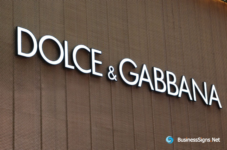 3D LED Front-lit Signs With Painted Stainless Steel Letter Shell For Dolce & Gabbana