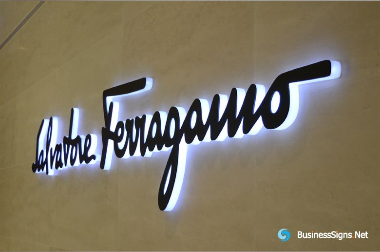 3D LED Side-lit Signs With Black Acrylic Front Panel For Salvatore Ferragamo