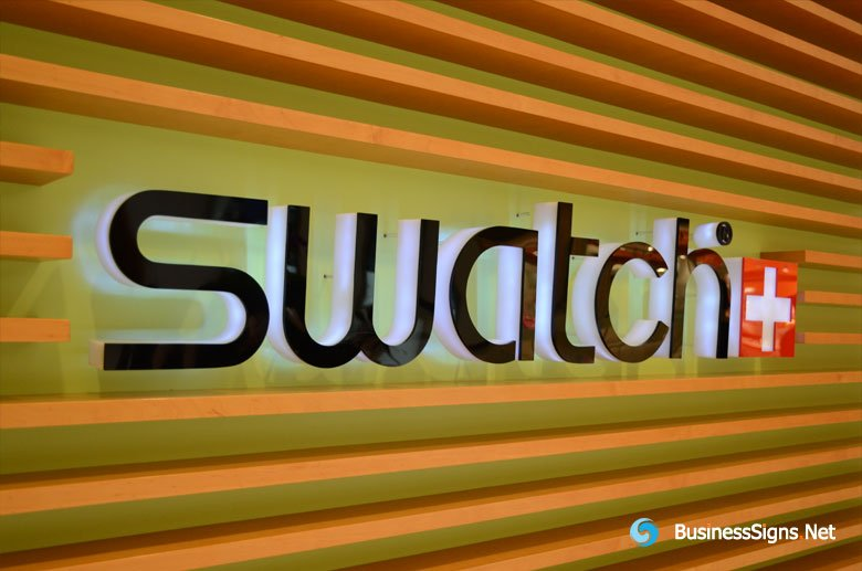 3D LED Side-lit Signs With Black Acrylic Front Panel For Swatch
