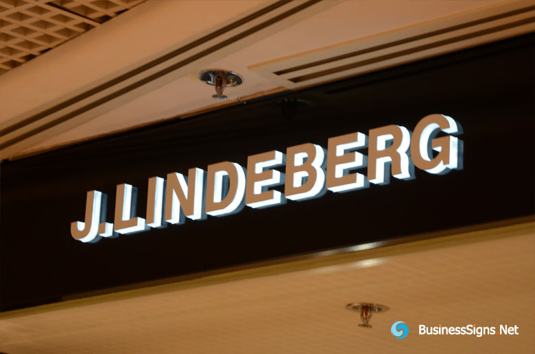 3D LED Side-lit Signs With Mirror Polished Stainless Steel Front-panel For J.Lindeberg