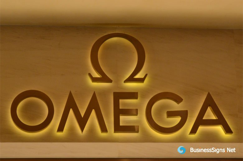 3D LED Back-lit Signs With Brushed Gold Plated Letter Shell For Omega