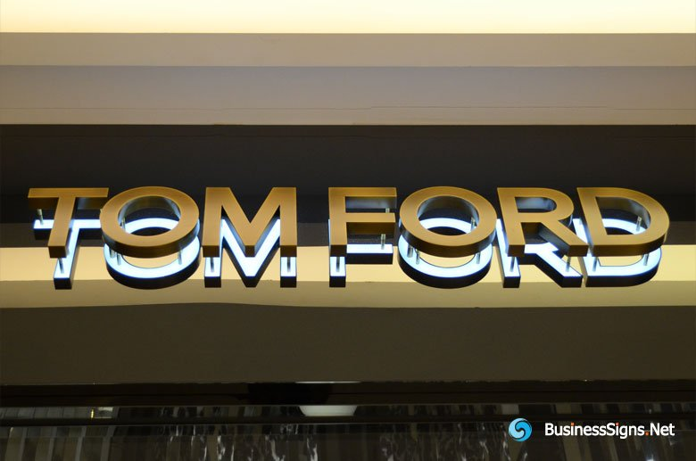 3D LED Backlit Signs With Brushed Brass Letter Shell For Tom Ford