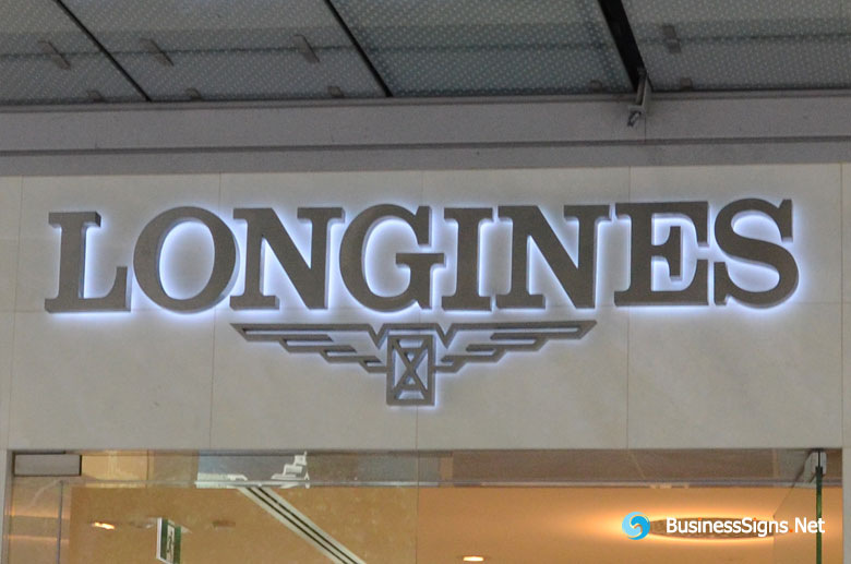 3D LED Backlit Signs With Brushed Stainless Steel Letter Shell For Longines