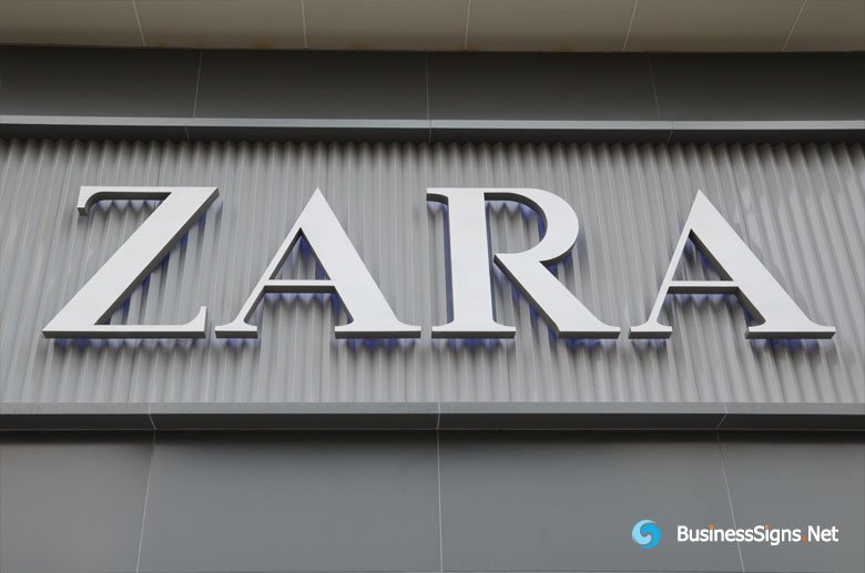 3D LED Backlit Signs With Brushed Stainless Steel Letter Shell For ZARA