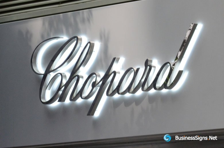 3D LED Backlit Signs With Mirror Polished Stainless Steel Letter Shell For Chopard