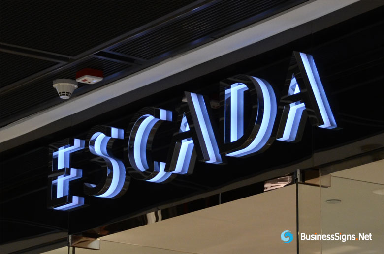 3D LED Backlit Signs With Mirror Polished Titanium Plated Letter Shell & 20mm Thickness Acrylic Back Panel For Escada