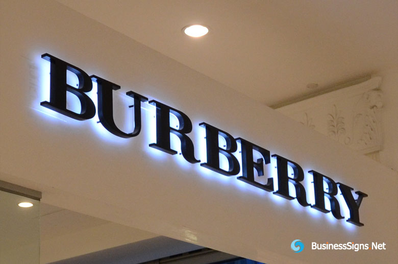 3D LED Backlit Signs With Painted Stainless Steel Letter Shell For Burberry