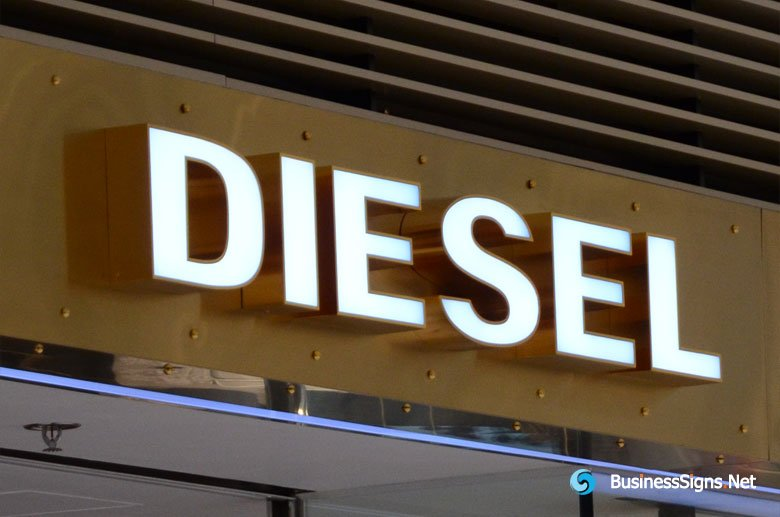 3D LED Front-lit Signs With Mirror Polished Brass Letter Shell For Diesel