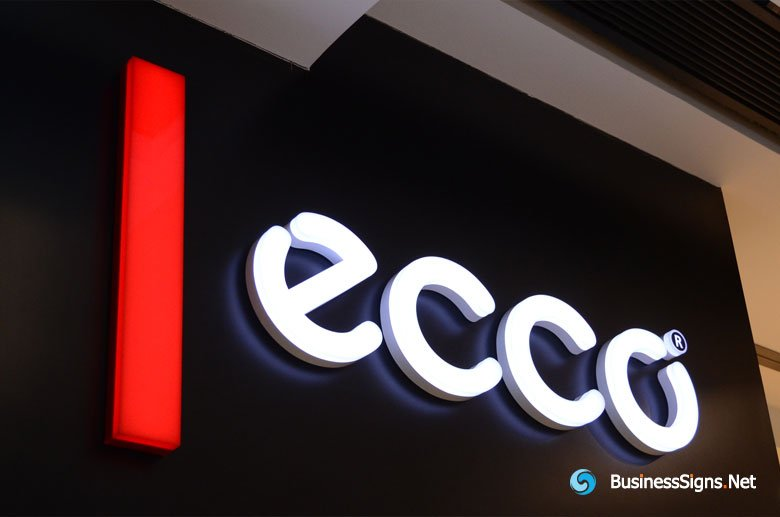3D LED Front-lit Signs With Painted Stainless Steel Letter Shell And 20mm Thickness Acrylic Front-panel For ECCO