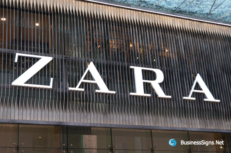 3D LED Front-lit Signs With Painted Stainless Steel Letter Shell For ZARA