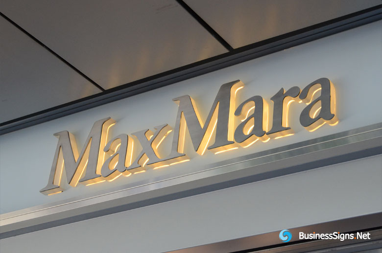 3D LED Side-lit Signs With Brushed Stainless Steel Front-panel For MaxMara