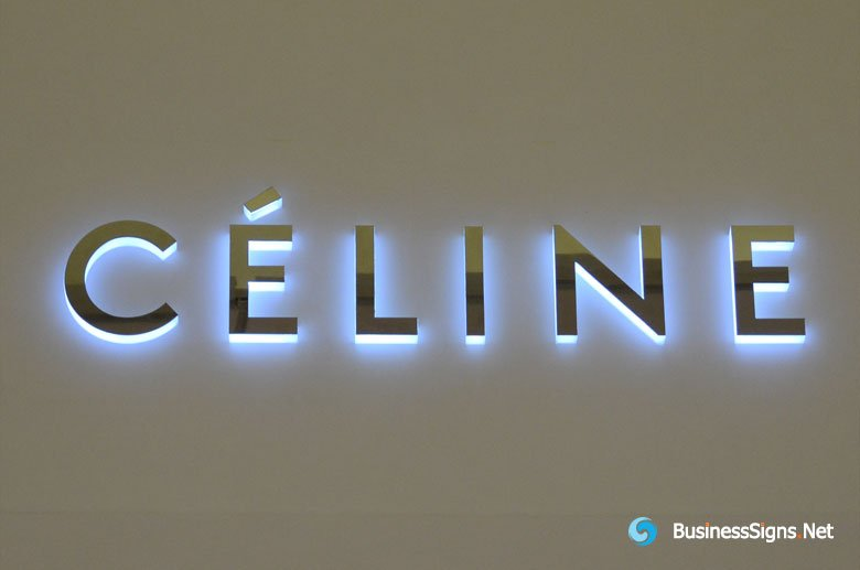 3d-led-side-lit-signs-with-mirror-polished-stainless-steel-front-panel-for-celine