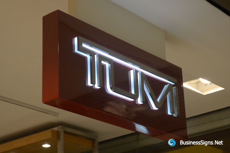 Double-sided 3D LED Side-lit Lightbox Signs With Brushed Stainless Steel Front-panel For Tumi