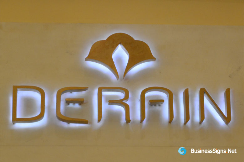 3D LED Back-lit Signs With Brushed Gold Plated Letter Shell For Derain
