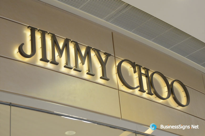 3d-led-back-lit-signs-with-brushed-titanium-plated-letter-shell-for-jimmy-choo