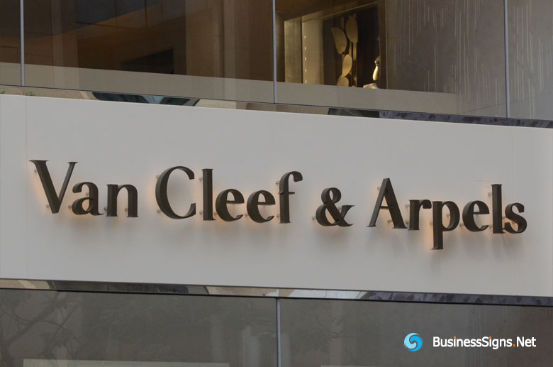 3D LED Back-lit Signs With Painted Stainless Steel Letter Shell For Van Cleef & Arpels