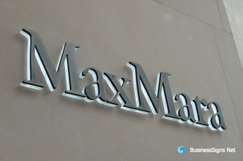 3D LED Backlit Signs With Brushed Bronze Letter Shell & 20mm Thickness Acrylic Back-panel For MaxMara