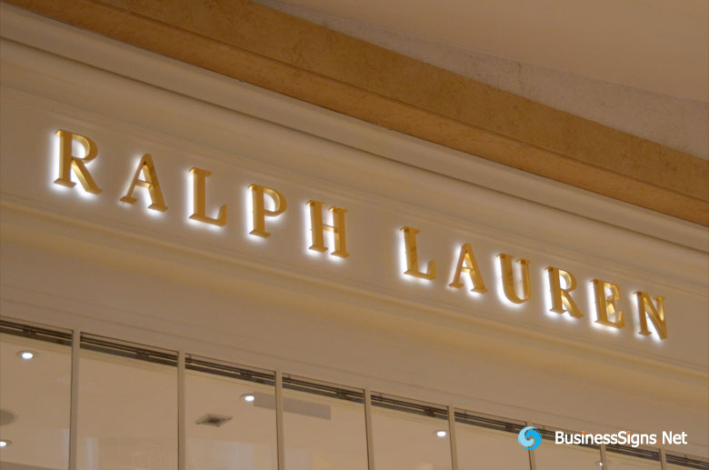 3D LED Backlit Signs With Mirror Polished Gold Plated Letter Shell For Ralph Lauren