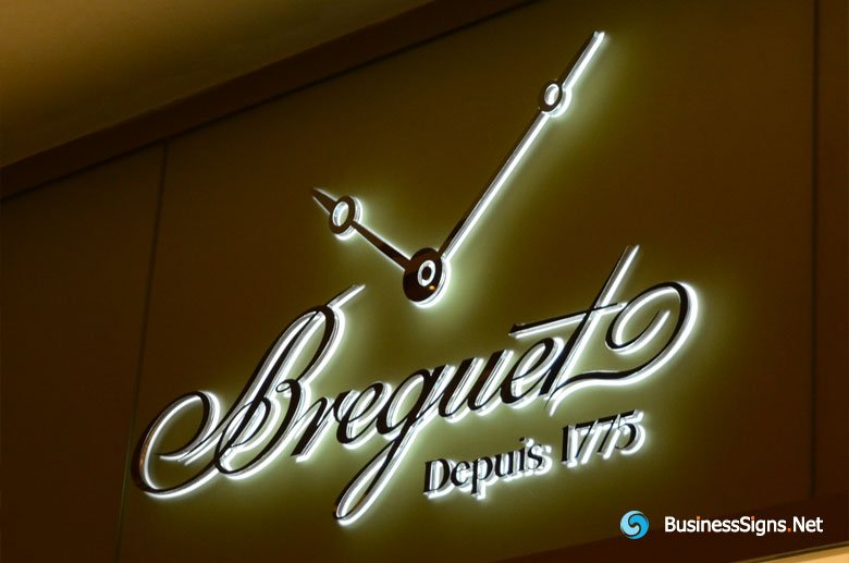 3D LED Backlit Signs With Mirror Polished Stainless Steel Letter Shell & 20mm Thickness Acrylic Back Panel For Breguet