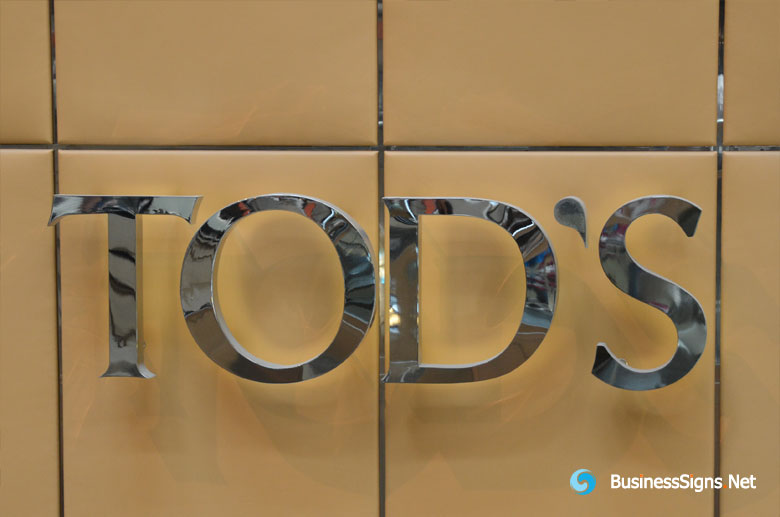 3D LED Backlit Signs With Mirror Polished Stainless Steel Letter Shell For Tod's