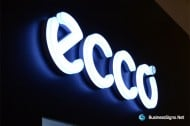 3D LED Front-lit Signs With Brushed Stainless Steel Letter Shell And 20mm Thickness Acrylic Front-panel For ECCO