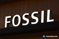 3D LED Front-lit Signs With Brushed Stainless Steel Letter Shell For Fossil