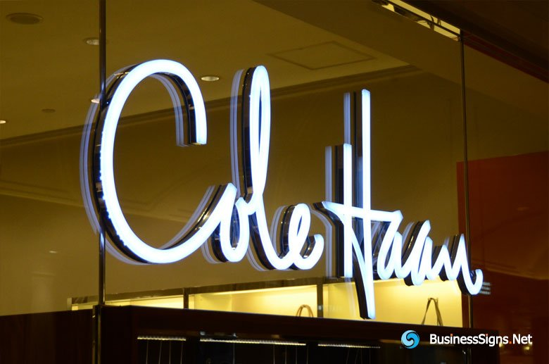 3D LED Front-lit Signs With Mirror Polished Stainless Steel Letter Shell And 20mm Thickness Acrylic Front-panel For Cole Haan