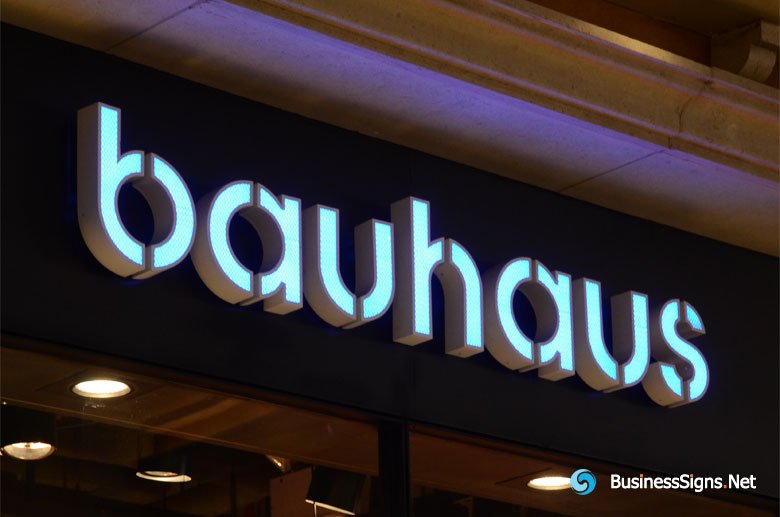3d-led-front-lit-signs-with-painted-stainless-steel-letter-shell-for-bauhaus