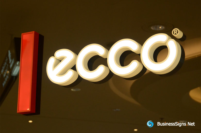 3D LED Front-lit Signs With Painted Stainless Steel Letter Shell For ECCO