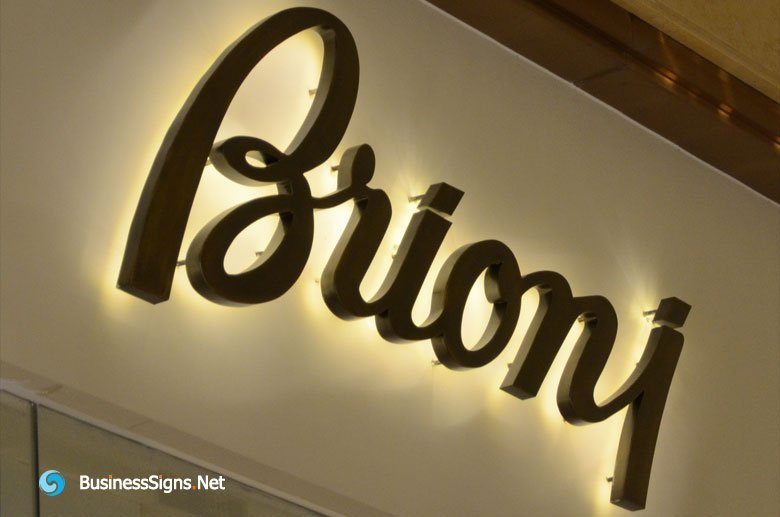 3D LED Back-lit Signs With Mirror Polished Titanium Plated Letter Shell For Brioni